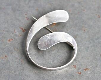 Silver Spiral Lapel Pin - Sterling Silver Modern Brooch