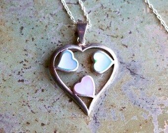 Heart of Hearts Necklace - Sterling Silver and Mother of pearl - Love Pendant on Chain