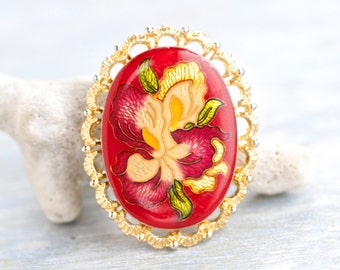 Orchid Cameo Oval Brooch - Red Lapel Pin and Gold
