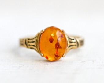 Amber Ring - Size 6.5 - Signed C&C