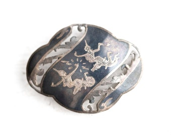 Siam Sterling Silver Lapel Pin - Goddess Mekkala of Lightning - Dancer - Boho Brooch Charcoal