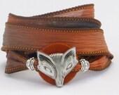 Brown Fox, Whirly Wrap, Silk Ribbon, Wrap Bracelet, Fox, Foxy Lady, Fox bracelet, neutral orange brown, secure magnet,
