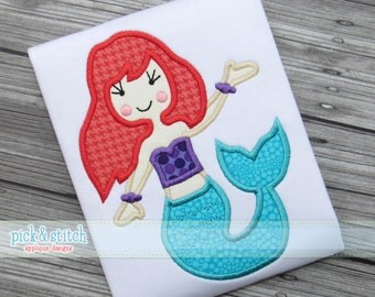 Mermaid Applique Design Machine Embroidery INSTANT DOWNLOAD