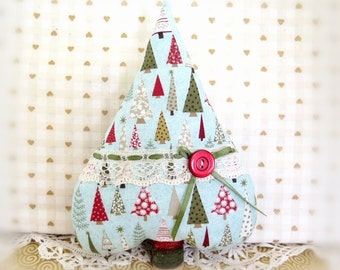 "Christmas Tree Ornament Fabric Tree Heart  7"" Free Standing Aqua Tree Print Tree Ornament CIJ Christmas in July Home Decor CharlotteStyle"