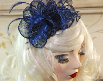 Navy Blue Fascinator Hat - Navy Kentucky Derby Hat - British Wedding Tea Party - Bridal Shower Tea Hat - Church Hat
