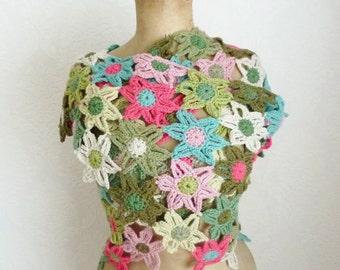 Flower scarf crochet triangle shawl crochet flower stole