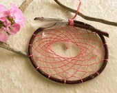 Pink Dream Catcher , rose quartz heart gemstone , handmade natural dreamcatchers