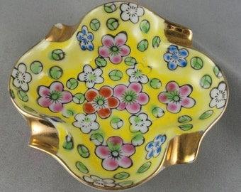 Small Vintage Ashtray Japan Ceramic Gold Leaf Viking Yellow Pink Flowers Shabby Chic