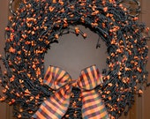 Halloween Wreath - Halloween Door Decoration - Black Wreath - Choose Bow
