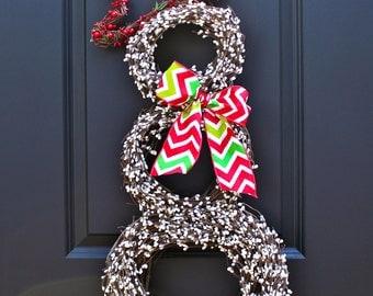 Snowman Wreath - Christmas Wreath - Snowmen Wreath - Chevron Wreath - Winter Wreath