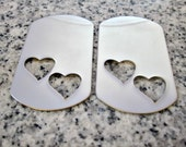 "1 1/8"" x 2"" (29mm x 51mm) Double Heart Hole Dog Tag Stamping Blank, 22g Stainless Steel - AWESOME Silver Alternative DBLHTDT09-16"