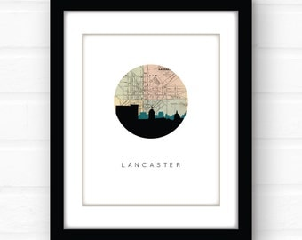 Lancaster PA wall art | Pennsylvania map art | Lancaster skyline print | city skyline print | custom font wall art | travel print