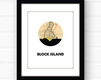 Block Island, Rhode Island | Rhode Island print | city skyline print | coastal beach decor | New England art | Rhode Island map