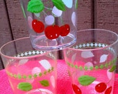 Cherry tumblers glasses clear plastic Vintage kitchen drink serving decor set of 3 red and green