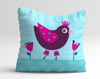 Kids throw pillow with cute princess hen, nursery throw pillow, children pillow cover, cushion cover, kids cushion, children bedding