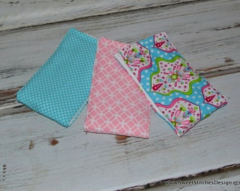 Baby Girl Burp Cloth Set  Girl Burp Cloths Pink and Teal - Boutique Baby Burp Cloths