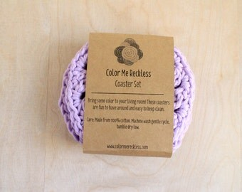 Coaster Set - Purple - Cotton/Hemp Blend