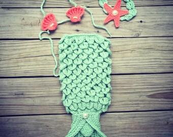Newborn Baby Girl Crochet Sea Green and Coral Crocodile Stitch MERMAID TAIL Photo Prop w/Shell Bikini and Star Fish Shell Headband w/Pearl