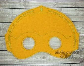 Star Wars Mask - Star Wars Costume - C3PO Mask - Robot Masks - Star Wars Party  - Felt Dress Up Masks - Birthday Party Favor Halloween