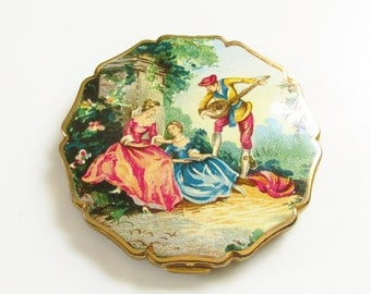 Vintage Stratton Enameled Powder Compact Victorian Revival Lovers Courting
