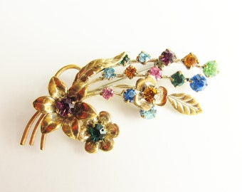 Vintage Multi Color Rhinestone Bouquet Brooch signed Austria Fruit Salad