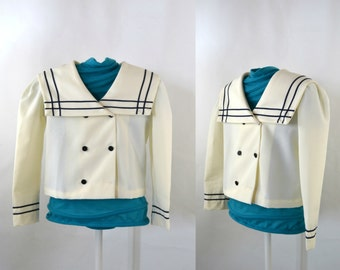 1980s Childrens Ivory Sailor Jacket by Classmate Fashions, Nautical Jacket