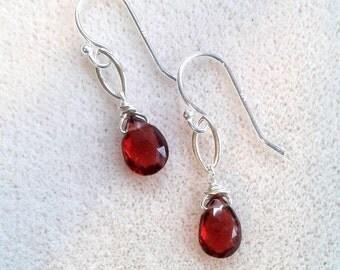 Minimalist Genuine Red Garnet and Sterling Silver Drop Earrings - Red Gemstone Earrings - January Birthstone - Delicate Sterling Earrings