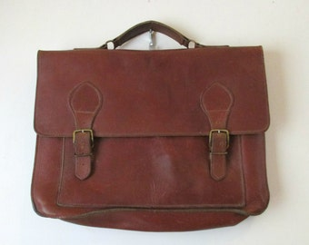 Vintage Satchel Mahogany Brown Soft Leather Briefcase Attache Carrying Case Pouch