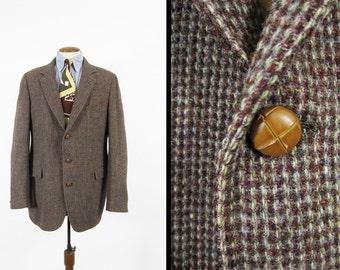 Vintage Harris Tweed Sport Coat Brown Houndstooth Wool Jacket - Size 40 L