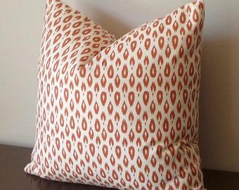 Ikat Design Pillow Cover, Designer Pillow, Nate Berkus Indre lynwood, Orange Pillow, Contemporary, Throw Pillow Cover, Both Sides, 20x20
