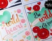 Wild Love Tribal  Boho Valentine Cards- Gold Foil and Valentine Card -Class Valentine- DIY PRINTABLE- Instant Download