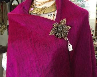 Hot pink alpaca shawl pashmina.
