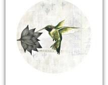 HUMMINGBIRD PRINT / Neutral Home Decor / Bird Print / Hummingbird Art / Simple Hummingbird Gift / Hummingbird Painting Reproduction