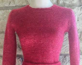 Vintage 30s 40s 1930s - 1940s Raspberry Sweater & Skirt Set - Size Small