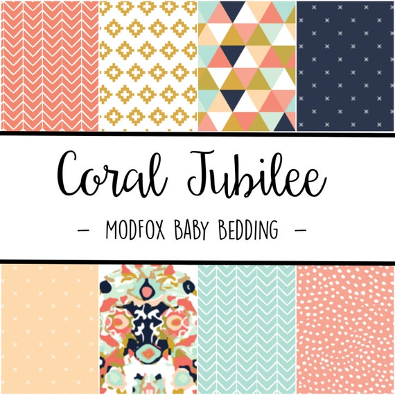 Coral Jubilee Baby Bedding Watercolor Baby Bedding Coral