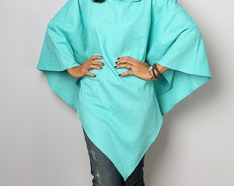 Poncho / Mint Linen Cape / Light Blue Poncho : Nature Touch Collection