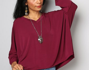 Burgundy Tunic / Burgundy Blouse Tunic / Ladies Loose Fit Tunic  : Street Soul Collection No.2