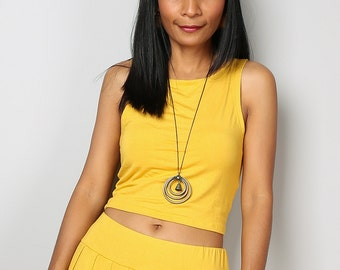 Crop Top / Sleeveless Yellow Top / Yellow Tank Top / Yoga Outfit : Urban Chic Collection No.31