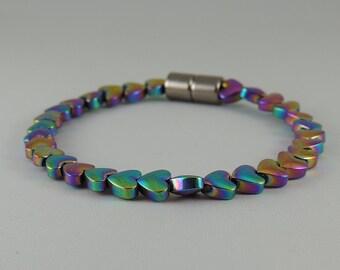 Rainbow Hearts Magnetic Hematite Bracelet