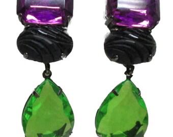 Vintage LES BERNARD Purple and  Drop Earrings