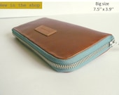 Leather women's wallet -soft cuoio leather functional wallet -gift for mom- gift for her-Christmas gift-zipped wallet