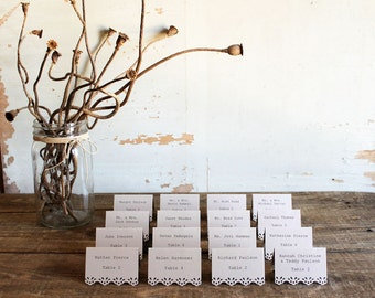 mocha brown rustic printed place cards for wedding, shower, party set of 100 - whimsy