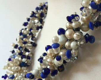 Vintage handmade beaded pearl glass bead necklace