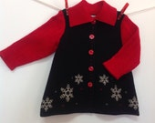 Toddler wool coat, baby jacket, snowflakes on black wool, red soft wool, holiday coat for baby, vintage inspired