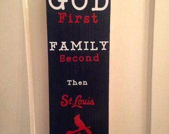 St Louis Cardinals themed paintand vinyl wood decor sign