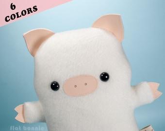 Pig stuffed animal, Plush pig plush, Cute piggy soft toy doll, Handmade boy girl gift, Kawaii Japan Flat Bonnie *