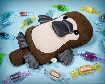 Platypus stuffed animal, Kawaii platypus plush, Cute soft toy doll, Duck billed platypus gift, Handmade Australia wildlife Flat Bonnie
