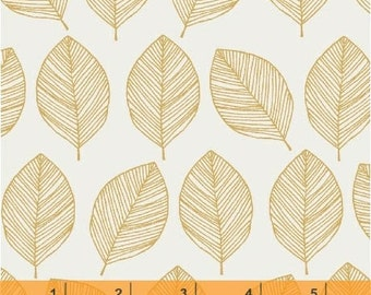 Whisper - Leaves Mustard by Victoria Johnson from Windham Fabrics
