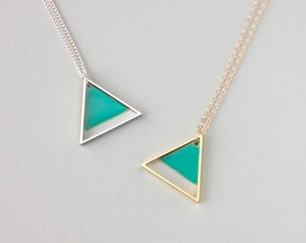 Large Two Triangle Metal Necklace (Green) - Modern Handmade Jewellery