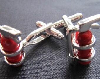 [MK0008] Fire extinguisher cufflinks of Miniblings + box fire firefighter fireman